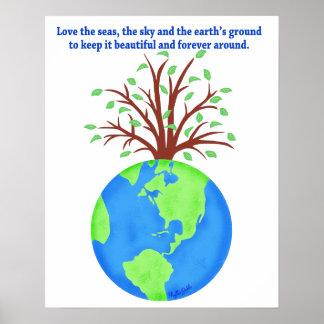 Ame y ahorre el arte del ambiente de la tierra posters