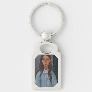 Amedeo Modigliani - Alice Silver-Colored Rectangular Metal Keychain