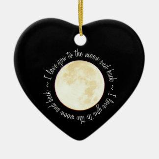 Ámele a la luna adorno de cerámica en forma de corazón