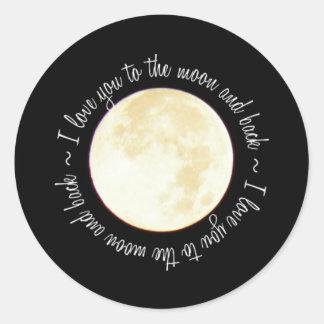 Ámele a la luna pegatina redonda