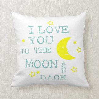 Ámele a la luna y a la almohada de tiro trasera cojín decorativo
