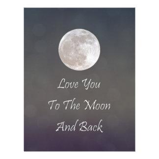 Ámele a la luna y a la parte posterior plantilla de membrete