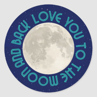 Ámele a la luna y a los pegatinas traseros pegatina redonda