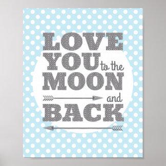 Ámele a la luna y al poster trasero del cuarto de