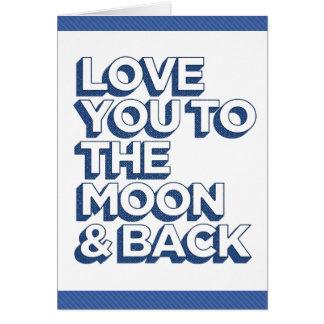 Ámele al azul de la luna y de la parte posterior tarjeta de felicitación