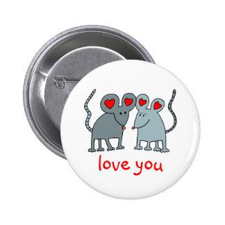 Ámele botón de ratones de la tarjeta del día de Sa Pin Redondo De 2 Pulgadas