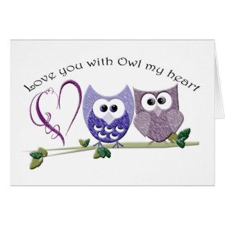 Ámele con el búho mi corazón, arte lindo de los tarjeta de felicitación