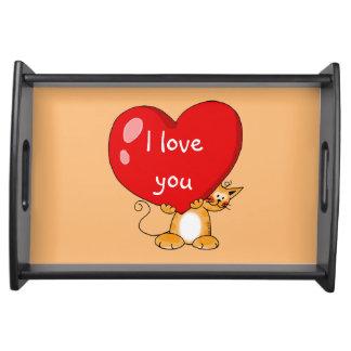 ámele corazón rojo grande - el día de San Valentín Bandejas