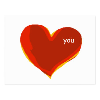 ámele - corazón rojo postal