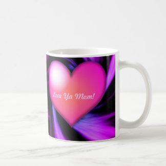 Ámele corazón rosado de Swirly de la mamá Tazas De Café