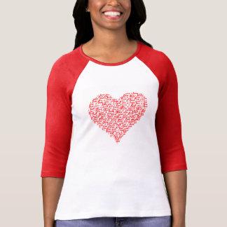 Ámele día de San Valentín rojo de la camiseta del