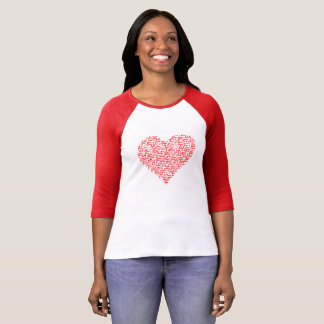 Ámele día de San Valentín rojo de la camiseta del Remera