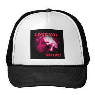 Ámele diseño del rosa rojo de la mamá gorras de camionero