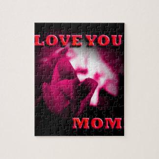 Ámele diseño del rosa rojo de la mamá rompecabeza con fotos