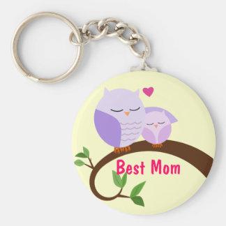 Ámele los búhos de la mamá y del bebé llavero personalizado