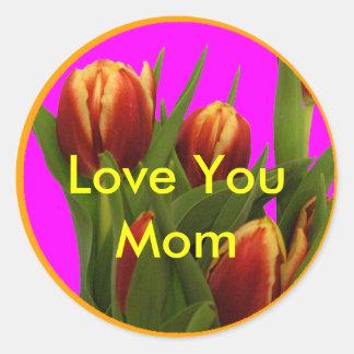 Ámele mamá - tulipanes el MUSEO Zazzle Pegatinas Redondas