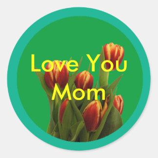 Ámele mamá - tulipanes el MUSEO Zazzle Pegatina Redonda