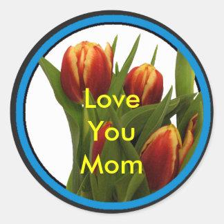 Ámele mamá - tulipanes el MUSEO Zazzle Pegatina