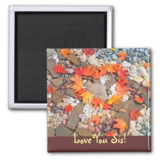 ¡Ámele SIS! corazón de las hojas de otoño de los i Iman