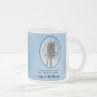 Ámele tarjeta de cumpleaños - cardo del cardo tazas de café