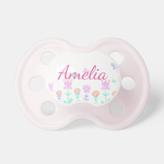 Amelia, Baby Pacifier with Flowers and Butterflies