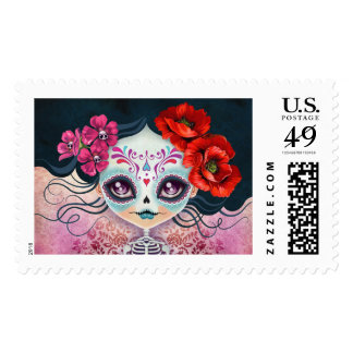 Amelia Calavera Day of the Dead Postage Stamp