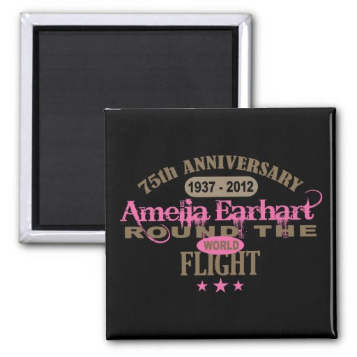Amelia Earhart 75 Year Anniversary 2 Inch Square Magnet