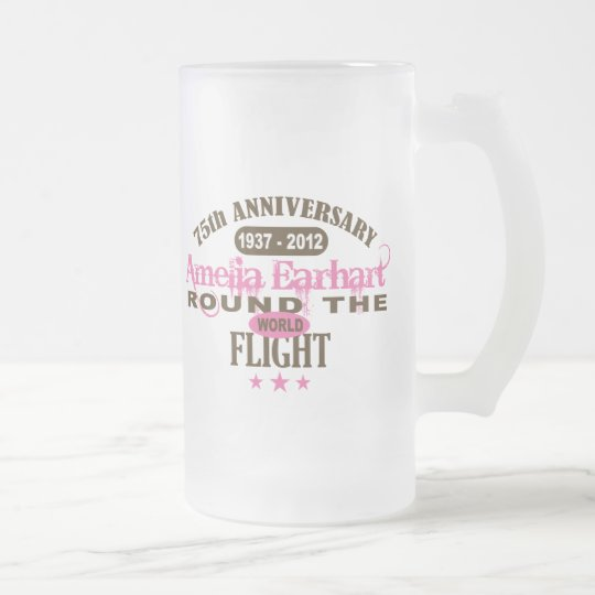 Amelia Earhart 75 Year Anniversary Frosted Glass Beer Mug