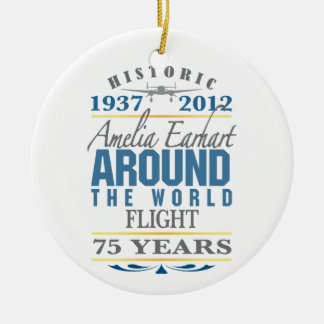 Amelia Earhart 75 Year Anniversary Double-Sided Ceramic Round Christmas Ornament