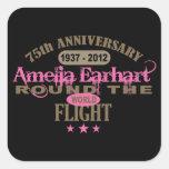 Amelia Earhart aniversario de 75 años Calcomanía Cuadrada
