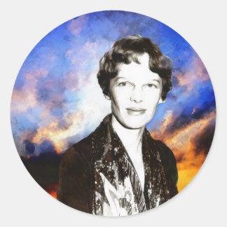 Amelia Earhart Artwork Classic Round Sticker