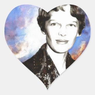 Amelia Earhart Artwork Heart Sticker