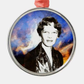 Amelia Earhart Artwork Metal Ornament