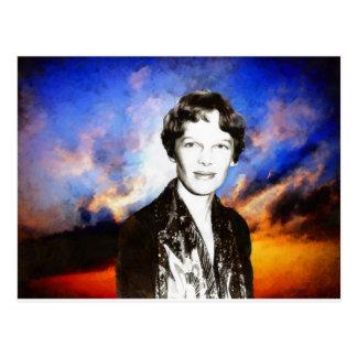 Amelia Earhart Artwork Postcard