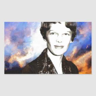 Amelia Earhart Artwork Rectangular Sticker