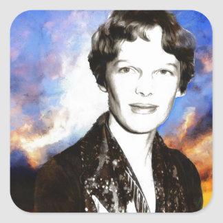 Amelia Earhart Artwork Square Sticker
