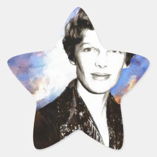 Amelia Earhart Artwork Star Sticker