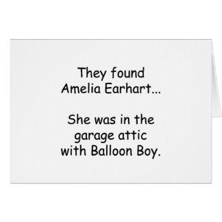 Amelia Earhart & Balloon Boy Greeting Card