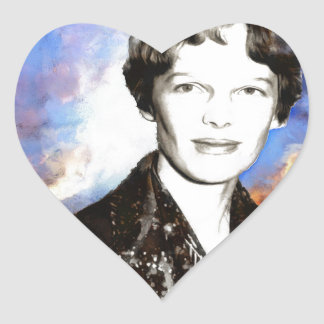 Amelia Earhart Heart Sticker