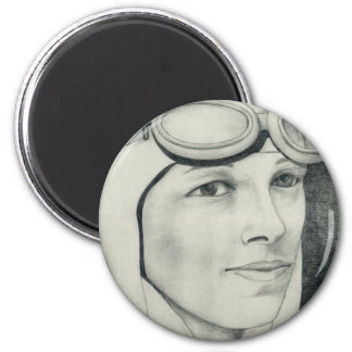 Amelia Earhart 2 Inch Round Magnet