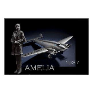 Amelia Earhart y su avión de Lockheed Electra Poster