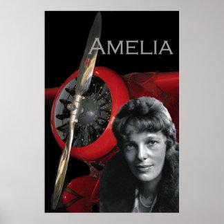 Amelia Earhart y su Lockheed Electra Póster