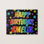 "[ Thumbnail: ""Amelia"" First Name, Fun ""Happy Birthday"" Jigsaw Puzzle ]"