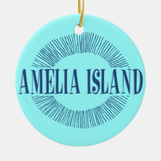 Amelia Island in blue with sun design Ceramic Ornament