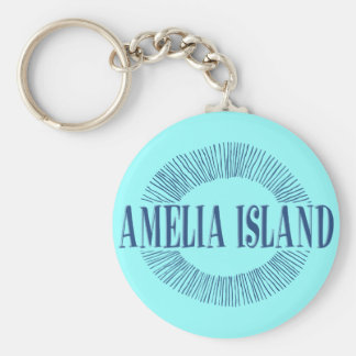 Amelia Island in blue with sun design Keychain