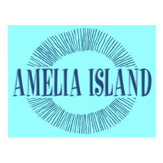Amelia Island in blue with sun design Postcard