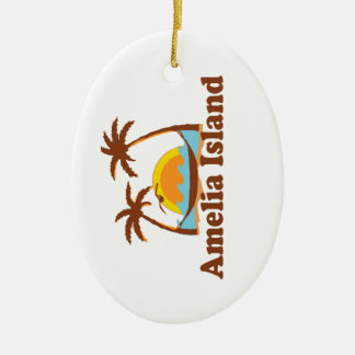 Amelia Island - Palm Trees. Ceramic Ornament