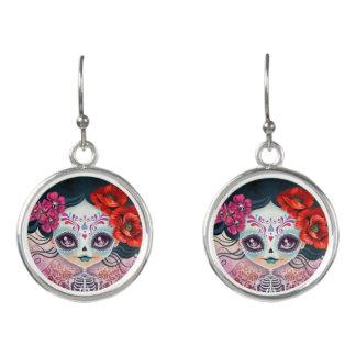 Amelia Sugar Skull Day of the Dead Drop Earrings
