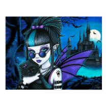 vampire, fairy, moon, cat, werecat, werekitty, castle, gothic, goth, Cartão postal com design gráfico personalizado