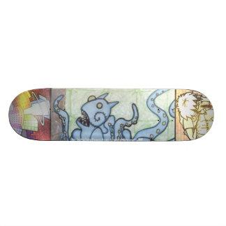 Amelia's blue monster skateboard deck